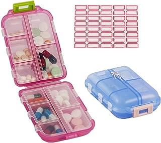 Bidear Travel Pill Case, 2 Pack Portable Tablet Medicine Vitamin Pill Organizer Box for Purse or Pocket, 10 Compartments (Blue+Pink)