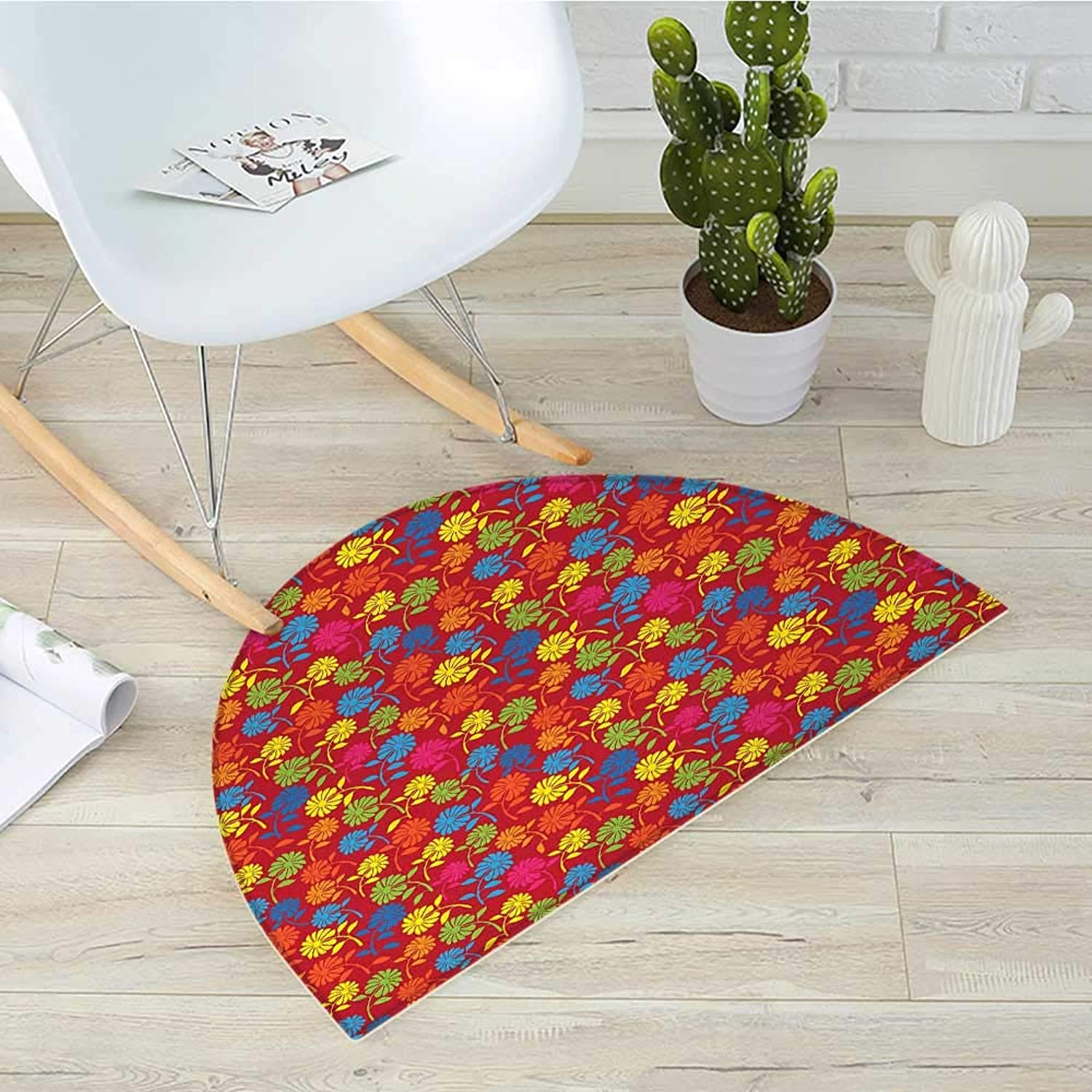 Flower Semicircle Doormat colorful Blooming Daisies on a Warm colord Background Rainbow Wildflower Pattern Halfmoon doormats H 43.3  xD 64.9  Multicolor