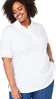 Woman Within Womens Plus Size Perfect Open Collar Polo Shirt