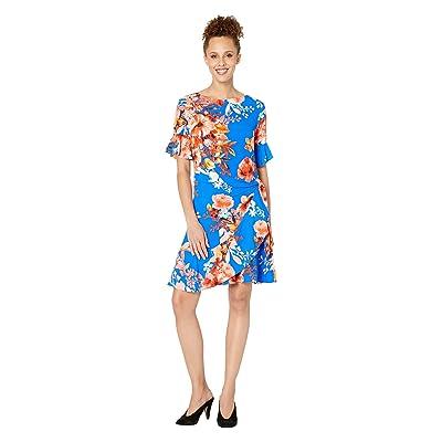 eci Short Sleeve Floral Printed Faux Wrap Dress (Blue) Women