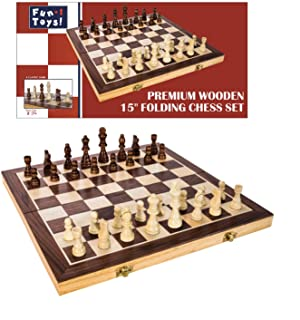 Fun+1 Toys! Classic Wooden Chess Set - Wooden Chess Board and Staunton Style Wood Pieces - Board Game Set for Adults and Kids - 15 x 15 Inches