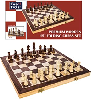 FUN+1 TOYS! 15-Inch Classic Folding Wooden Chess Set. Includes Wooden Pieces in Storage Pouches, Board, and Instructions!