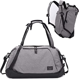 Gym Duffel Bag Sports Travel Backpack Weekender Overnight Tote Bag with Shoe Compartment (Gray-A)
