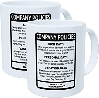 Wampumtuk Pack Of 2 Company Policies Boss Employee Work Office 11 Ounces Funny Coffee Mug
