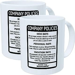 Wampumtuk Pack Of 2 Company Policies Boss Employee Work Office 11 Ounces Funny Coffee Mug