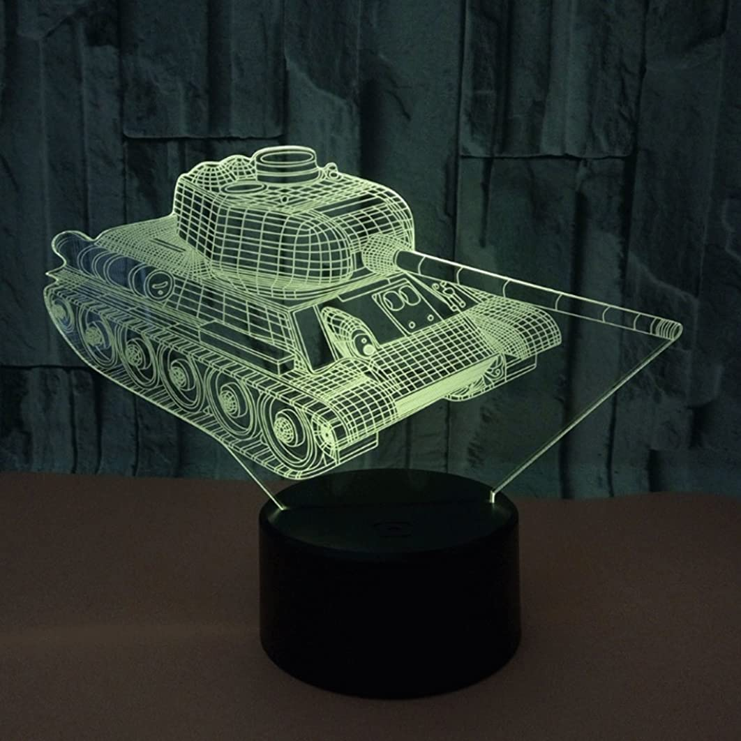 3D Tank Small Night Light USB Jack Remote/Touch Colorful LED Acrylic Board 3D Stereo Vision Fashion Personality Small Desk Lamp (Size : Telecontrol touch)