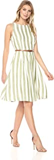 Sharagano Women's Belted Stripe Dress