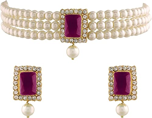 I Jewels 18K Gold Plated Traditional Handcrafted Stone Studded Pearl Choker Necklace Jewellery Set With Earrings For ...