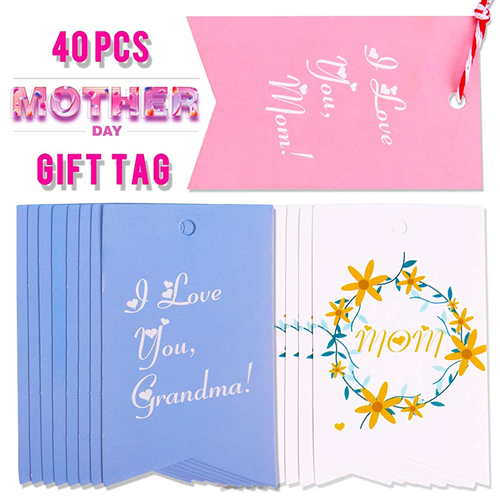 Mother's Birthday Gift Tags - 40 Pieces Happy Mothers Birthday Gift Tags, Mommy Cardstock Gift Wrapping Tags & Labels, Father's Day Gift, Mother's Birthday Gifts for Mom Wife Grandma Sister
