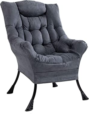 Superrella Modern Soft Accent Chair Living Room Upholstered Single Armchair High Back Lazy Sofa (Cool Grey)