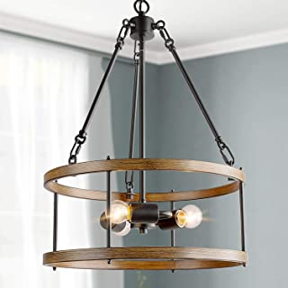 "ISURAUL Farmhouse Chandelier for Dining Rooms, 16"" 3-Lights Farmhouse Lighting for Living Room and Entryway"