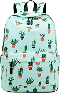 Stylish Designer Backpack Unique Back To School Student Book Bags Kawaii Pastel Green Cactus Fancy Adorable Pretty Hiking Sports Camping Polyester Satchel for Boys Girls Birthday Gift