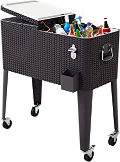 Universal Outdoor Waterproof Protective Cover Fit for Most Cooler TUYU 80 QT Rolling Cooler Cart Cover Party Cooler Black Patio Cooler Dust Cover for Beverage Cart Rolling Ice Chest