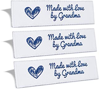 Wunderlabel Made with Love by Grandma Crafting Fashion Granny Grandmother Woven Ribbon Tag Clothing Sewing Clothes Garment Fabric Material Embroidered Label Labels Tags, Blue on White, 25 Labels