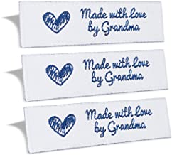 Wunderlabel Made with Love by Grandma Crafting Fashion Granny Grandmother Woven Ribbon Tag Clothing Sewing Clothes Garment Fabric Material Embroidered Label Labels Tags, Blue on White, 100 Labels
