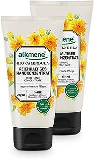 alkmene Handkonzentrat mit Bio Calendula - Reichhaltige Handcreme für sehr trockene Hände & rissige Hände - vegane Creme ohne Silikone, Parabene, Mineralöl, PEGs, SLS & SLES im 2er Pack 2x 75 ml