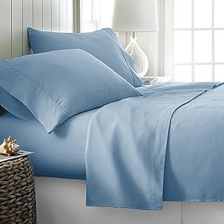 600-Thread-Count Best 100% Egyptian Cotton Sheets & Pillowcases Set - 4 Pc Light Blue Long-Staple Cotton Bedding Queen She...