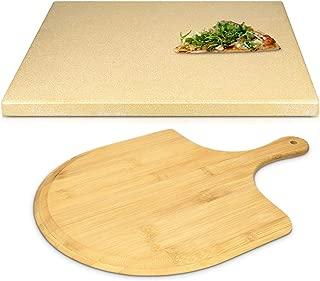 Navaris Set de piedra y pala para pizza - Piedra para horno de cordierita y pala de madera de bambú - Bandeja para parrilla barbacoa o grill