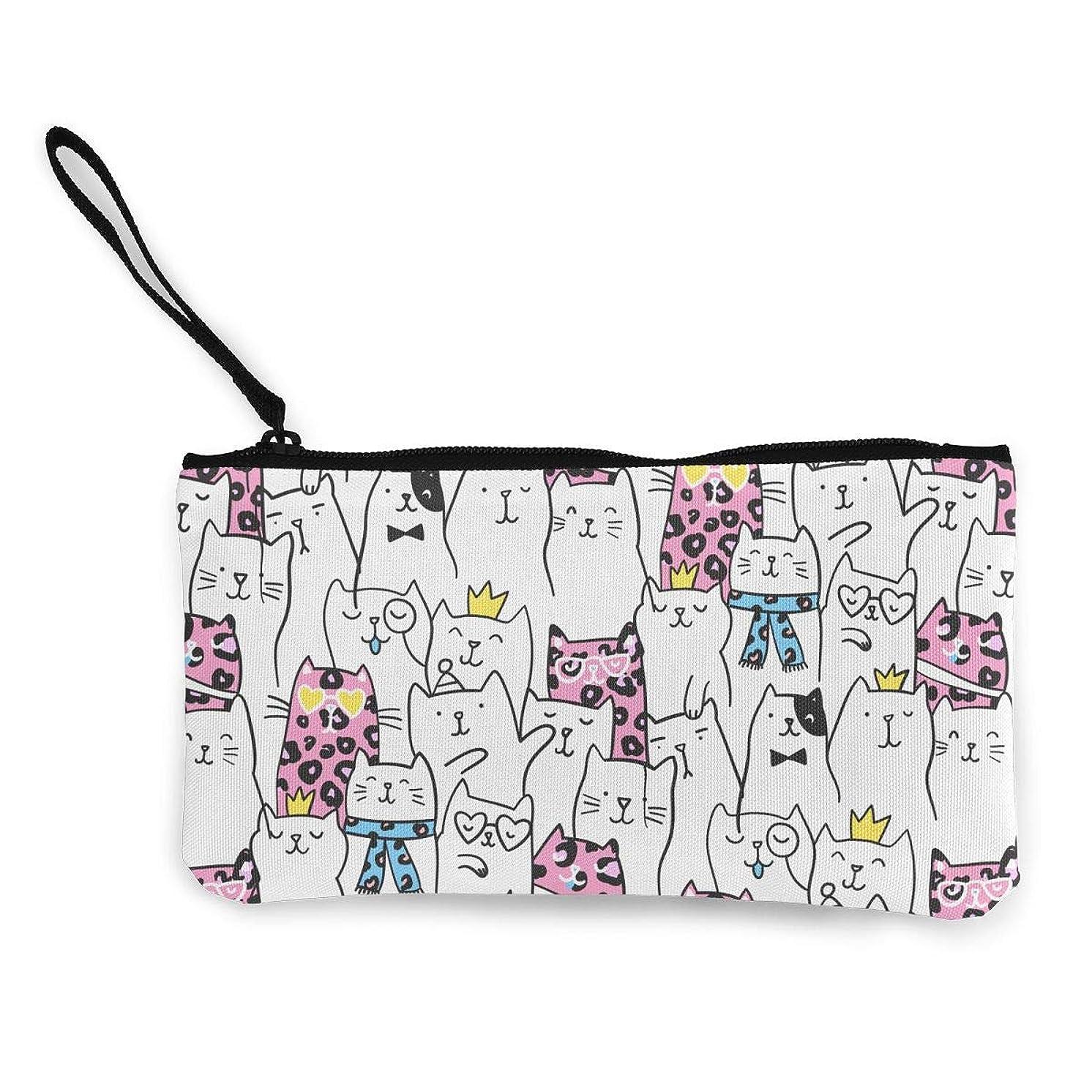 舞い上がる悪化する阻害するErmiCo レディース 小銭入れ キャンバス財布 可愛い猫パタン 小遣い財布 財布 鍵 小物 充電器 収納 長財布 ファスナー付き 22×12cm