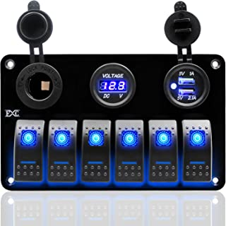 FXC Metal Aluminum Marine Boat Rocker Switch Panel 6 Gang with Dual USB Slot Socket + Cigarette Lighter + Digital Voltage Display LED Light for Car Rv Vehicles Truck