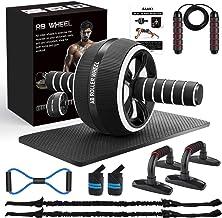 AILUKI Buikroller, buiktrainer vanaf roller, buikspiertrainer vanaf wheel set, met fitnessband, springtouw, omhoog schuive...