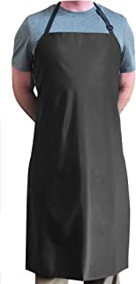 "Tuff Apron Black Heavy Duty Waterproof with Neck Adjuster Durable Long Kitchen Dishwashing Bib 41"" x 27"" PVC Vinyl"