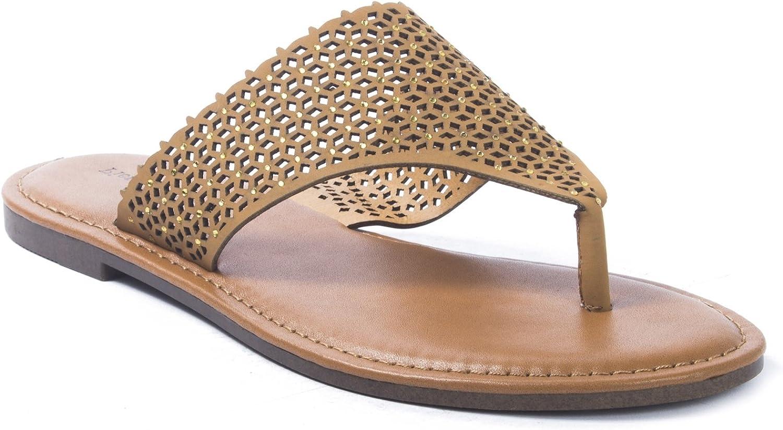 Pierre Dumas Women's Azaria-7 Vegan Leather Perforated Accents Flip-Flops Flats Sandals