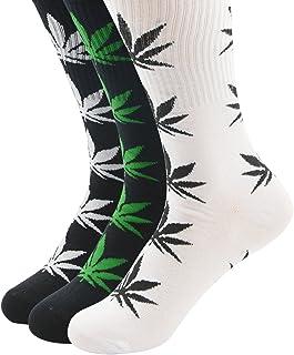 Athletic Sports High Crew Socks for Men Women Marijuana Weed Leaf Cotton Sock