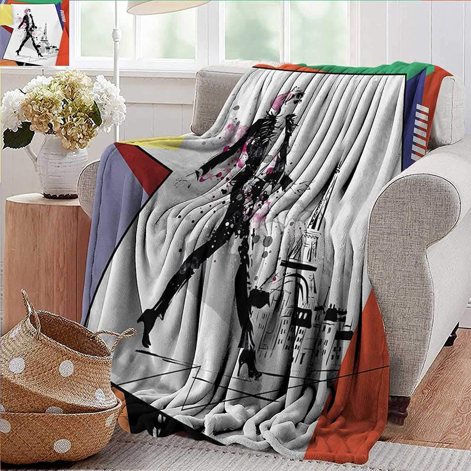 XavieraDoherty Weighted Blanket,Eiffel Tower,A Girl Walking in The Streets of Paris Sketch Style Romantic Eiffel Tower Image,orange,Indoor Outdoor, Comfortable for All Seasons 50 x70