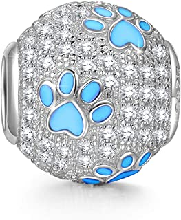 Amatolove Jewellery Bijoux pour la f/ête des M/ères en Argent Sterling 925 avec Empreinte de Patte de Chat et de Chien