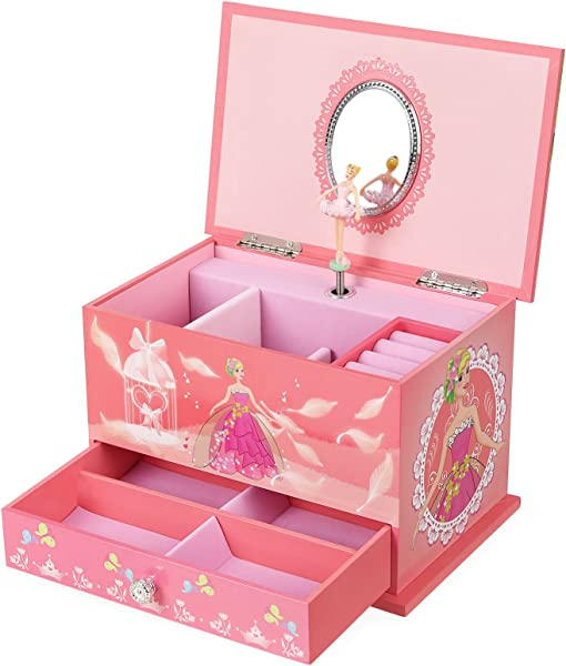 SONGMICS Musical Jewelry Box Ballerina Jewel Storage Case Gift For Little Girls Ball Princess With Brahms Lullaby Melody Pink UJMC006
