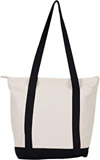 SBV Canvas Large Tote Bag with Zipper and Pocket for Women - Reusable, Ecofriendly and washable {Black & White}- Pack of 1
