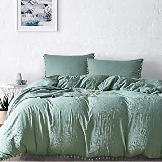 MUKKA Sea Green Pom Poms Duvet Cover with Washed Cotton Technical 3 Pieces King Size Ball Fringe Design Stone-Washed Silky Soft Brushed Microfiber, Natural Wrinkle Looking, Breathable
