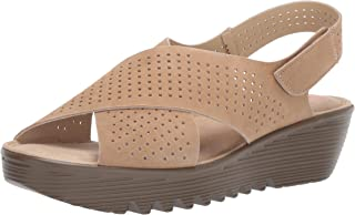 Skechers Women's Petite Parallel-Plot-Square Perf Peep Toe Slingback Wedge Sandal