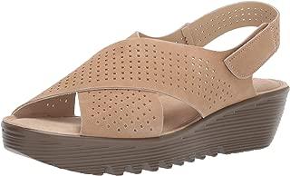 Skechers Women's Petite Parallel-Plot-Square Perf Peep Toe Slingback Wedge Sandal