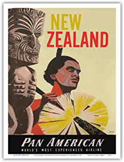 New Zealand - Pan American World Airways - Native Maori Warrior and Tiki - Vintage Airline Travel Poster by A. Amspoker c.1955 - Master Art Print - 9in x 12in