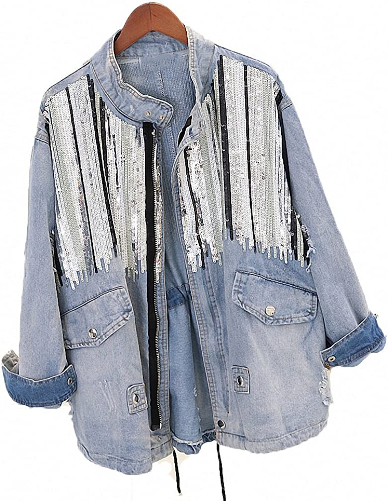 Hiuwa Womens Denim Jacket Bling Sequins Stand Collar Long Sleeve Loose Student