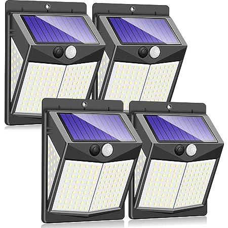 Claoner 【140 LED/3 Modes】 Solar Lights Outdoor, Wireless Solar Motion Sensor Security Light Solar Powered Lights [2000mAh] Solar Wall Light for Front Door, Yard, Garage, Garden (4 Pack)