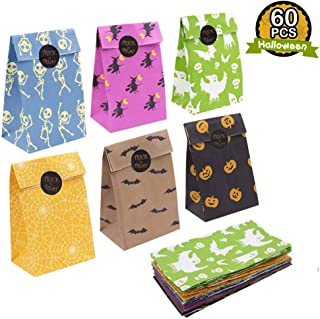 OurWarm 60pcs Halloween Party Treat Bags Paper Gift Bags, Party Favor Goody Bags with Trick or Treat Stickers for Halloween Party Decorations Supplies