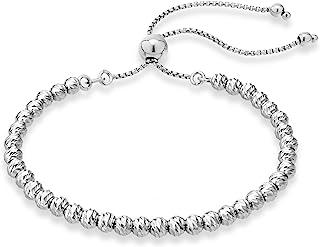 Miabella 925 Sterling Silver Diamond-Cut Adjustable Bolo 4mm Bead Bracelet for Women, Handmade Italian Beaded Ball Chain B...