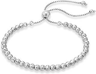925 Sterling Silver Diamond-Cut Adjustable Bolo 4mm Bead Bracelet for Women, Handmade Italian Beaded Ball Chain Bracelet, Choice White or Yellow