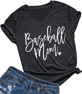 4681e89e FAYALEQ Baseball Mom Shirt for Women V-Neck Letter Print Cute Graphic Tees  Casual Short
