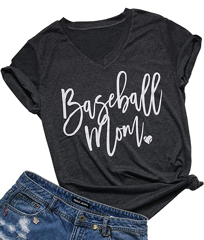FAYALEQ Baseball Mom Shirt for Women V-Neck Letter Print Cute Graphic Tees Casual Short Sleeve Tops Blouse