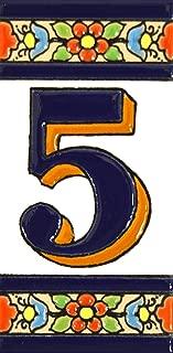 Números casa. Letreros con numeros y letras en azulejo de ceramica policromada, pintados a mano en técnica cuerda seca para placas con nombres, direcciones y señaléctica. Texto personalizable. Diseño FLORES MEDIANO 10,9 cm x 5,4 cm. (NUMERO CINCO