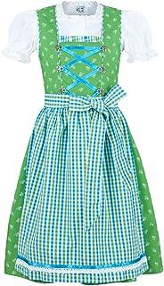 Isar-Trachten Kinder Dirndl Melinda 3-TLG. - Grün Türkis - Markendirndl für Mädchen zu Kirchweih, Sommertage oder Oktoberfest