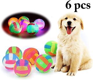 Mumoo Bear Dog Ball Toy Light up Ball Elastic Flashing Interactive Squeaky Ball (6Pcs, Random Color)