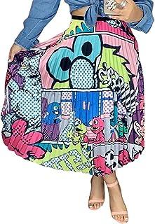 ThusFar Women's Graffiti Pleated Skirts Cartoon Printed...