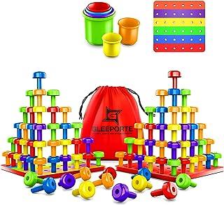 اسباب بازی مجموعه ای از اسباب بازی Peg Board | بسته جامبو | آموزش اولیه کار حرفه ای Montessori برای مهارت های حرکتی خوب ، ایده آل برای کودکان نوپا و پیش دبستانی ، شامل 60 میله پلاستیکی و 3 تخته | کیسه ذخیره سازی
