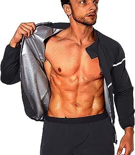 NINGMI سونا کت و شلوار مردانه ژاکت ورزشی سونا ژاکت لاغری تناسب اندام تمرین آستین بلند پیراهن عرق