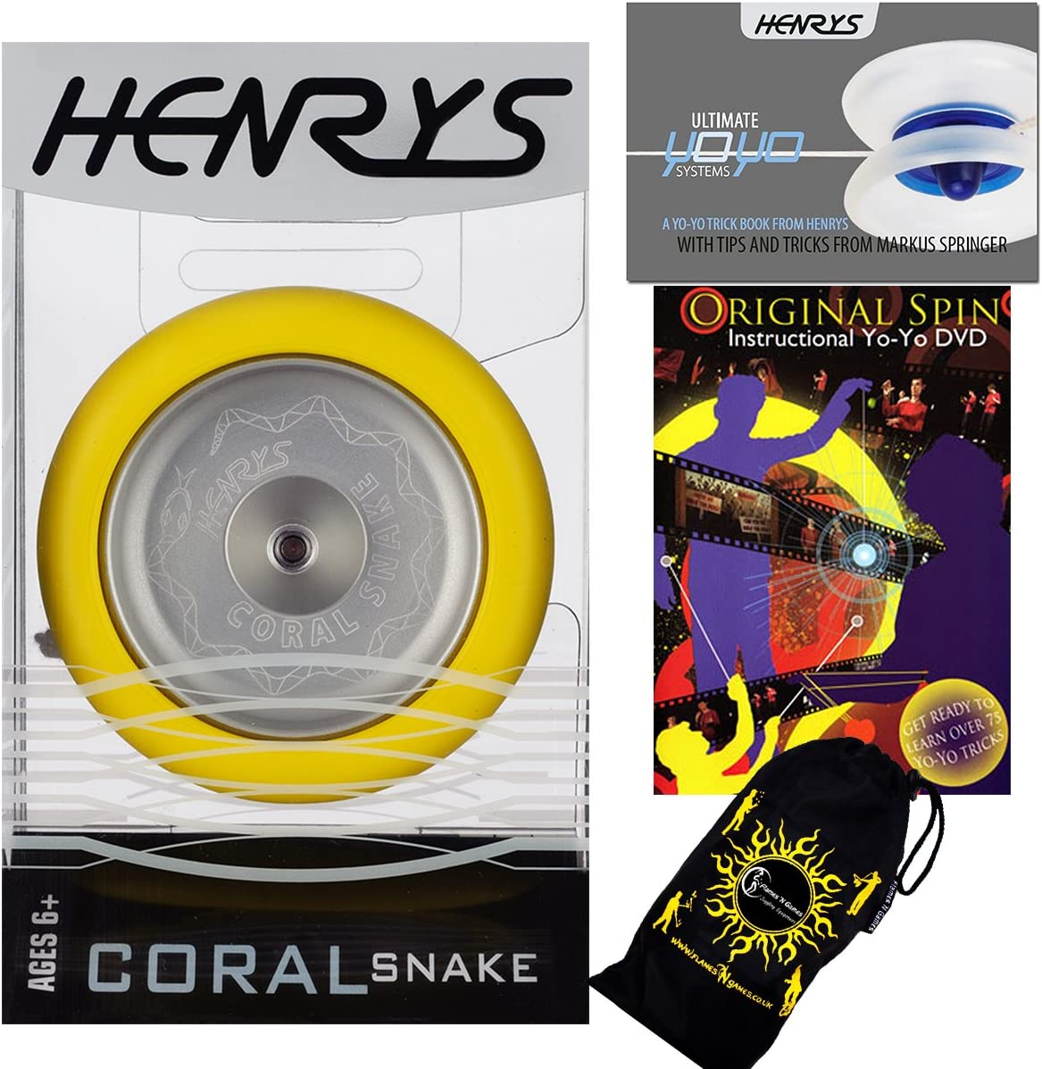 Henrys CORAL SNAKE YoYo Yellow Professional Sale Max 49% OFF Tric Metal Looping